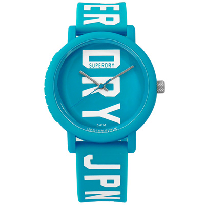 Superdry 雙色炫彩品牌LOGO矽膠手錶-藍色/38mm