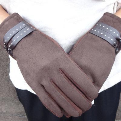 ACUBY-一指觸控典雅編織手套-咖啡