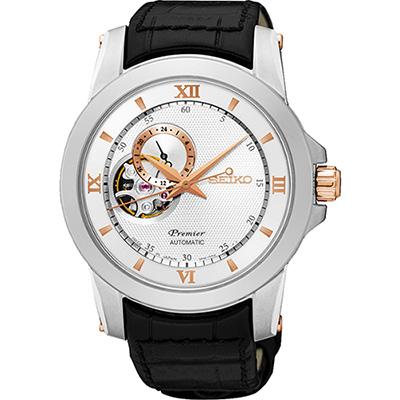 SEIKO-Premier-開芯鏤空視窗機械腕錶-SSA322J1-銀x黑-40mm