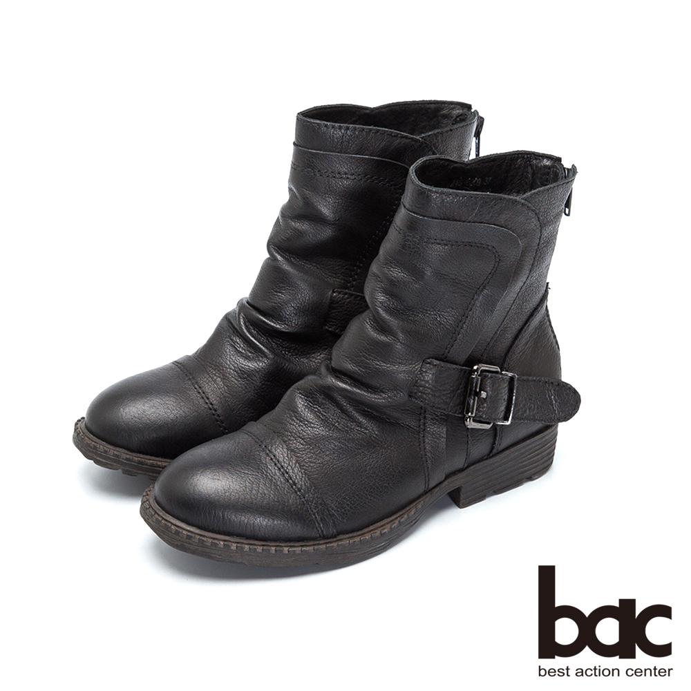 bac率性軍裝風水染羊皮低跟短靴-黑色