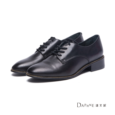 達芙妮DAPHNE-牛津鞋-齒鏈綴邊真皮綁帶牛津鞋-黑