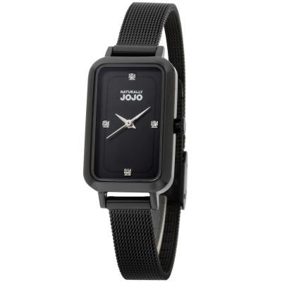 NATURALLY JOJO 魅力魔方米蘭不鏽鋼鍊錶-黑色-20*37mm