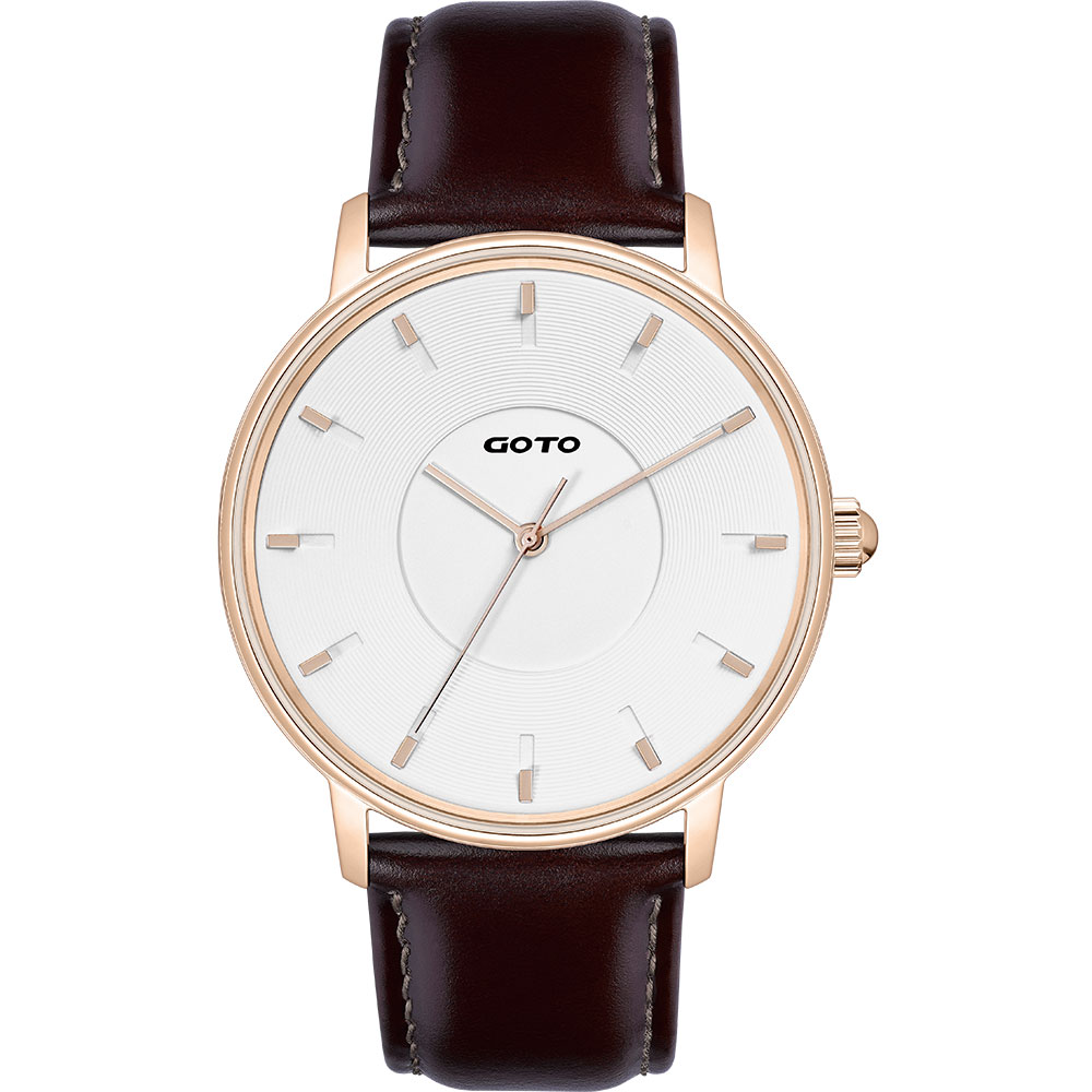 GOTO THINK簡約時尚手錶-IP玫x白/42mm