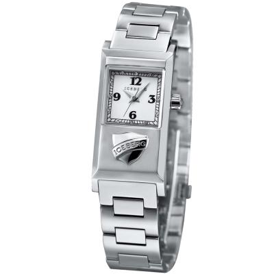 ICEBERG 米蘭時尚系列LOGO不鏽鋼帶錶-白/20x36mm