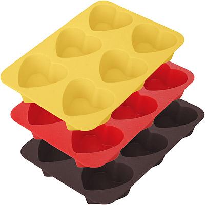 TESCOMA 六格矽膠愛心蛋糕烤盤(7cm)