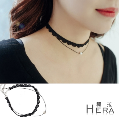 Hera 赫拉  蕾絲花邊雙層綴珍珠短款項鍊/鎖骨鍊/頸鍊(黑色)