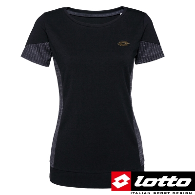 LOTTO-義大利-女-INDY-多功能訓練短袖上衣-黑