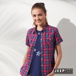 JEEP 女裝 美式休閒彩色格紋短袖襯衫 (紅色)