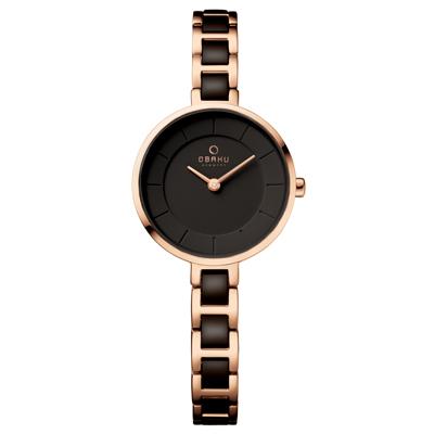 OBAKU 氣質雅致雙色時尚腕錶-深咖啡X玫瑰金/28mm
