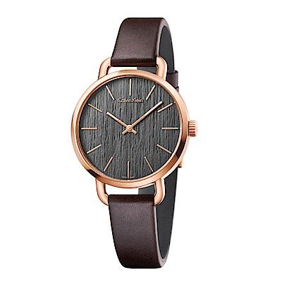 CK CALVIN KLEIN Even 超然系列木質紋咖啡色面盤鍍PVD玫瑰金框女錶-36mm
