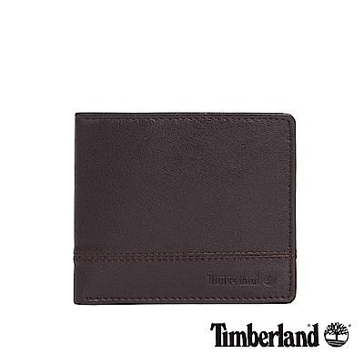 Timberland 男款深咖啡色壓紋可翻式證件短夾