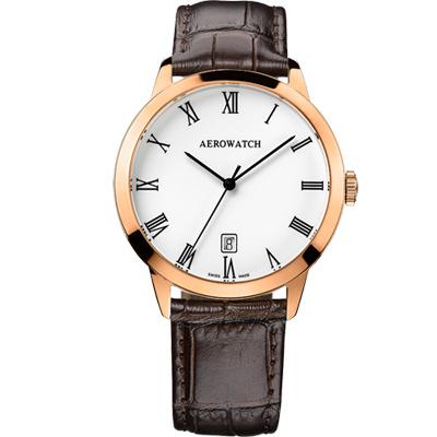 AEROWATCH 羅馬雅仕經典時尚腕錶-玫瑰金框x咖啡/40mm