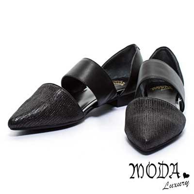 低跟鞋-MODA-Luxury-側面鏤空羊皮尖頭低跟鞋-銀
