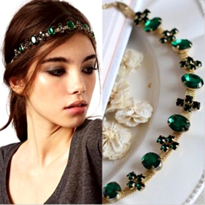Aimee-Toff-氣質綠水鑽曼妙髮圈