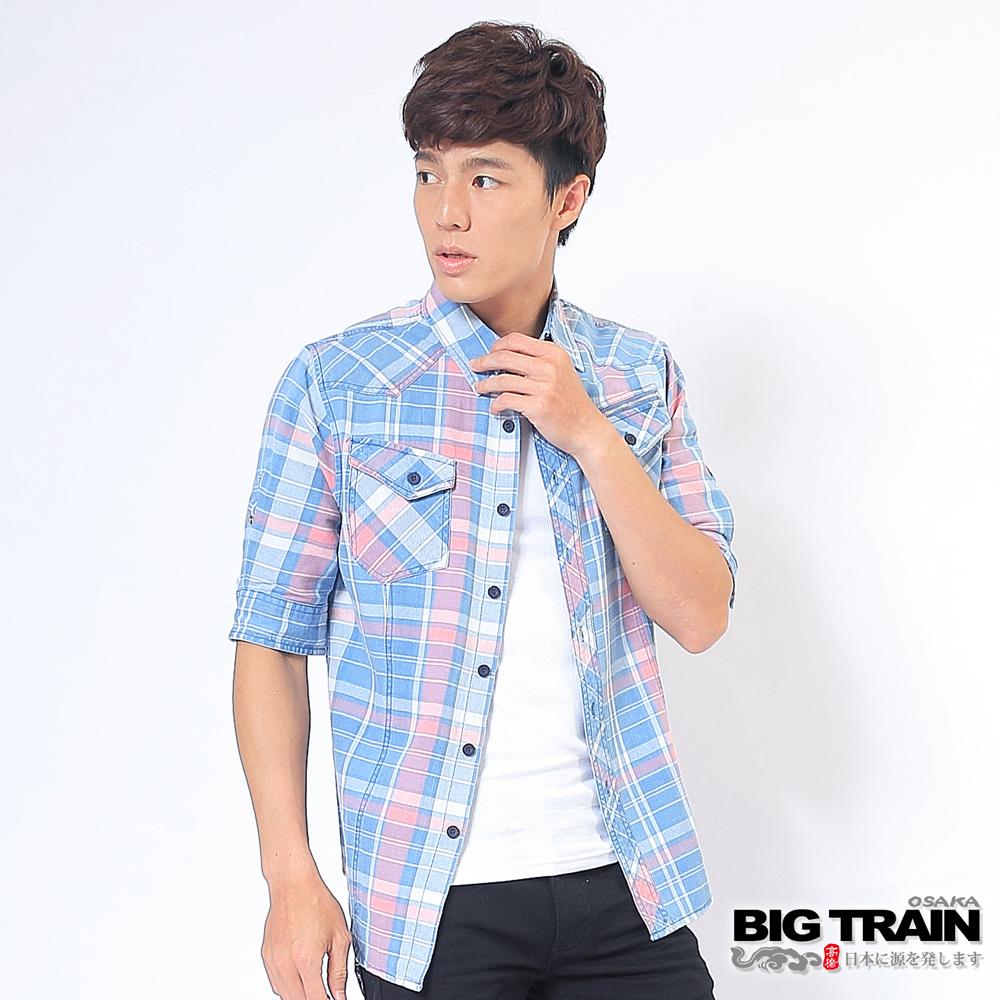 BIG TRAIN 淺藍粉格五分袖襯衫-男-淺藍粉格