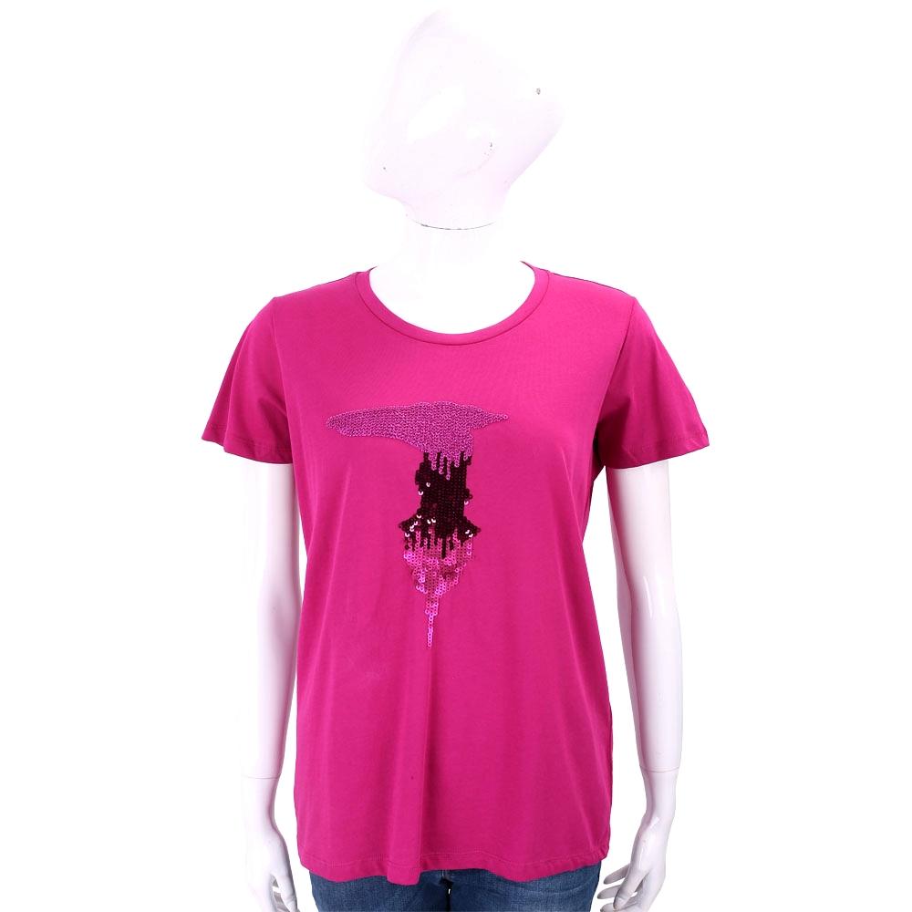 TRUSSARDI 亮片字母桃紫色棉質T恤