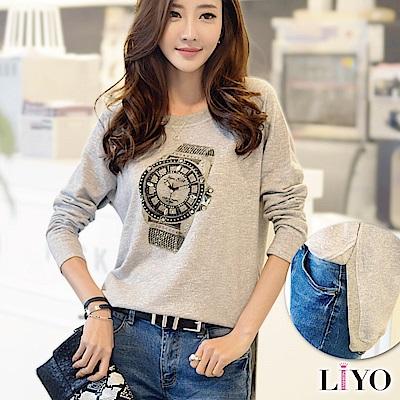上衣鐘錶印花手工貼鑽前短後長開衩長袖寬鬆休閒T恤 S-XL LIYO理優