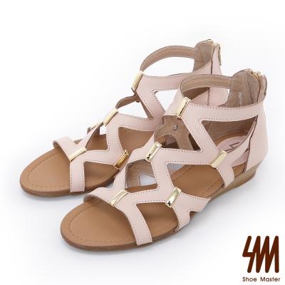 SM-羅馬系列-經典交叉飾扣楔型低跟涼鞋-粉色