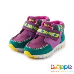 Dr. Apple 機能童鞋 麂皮暖暖經典圖騰短靴款 紫