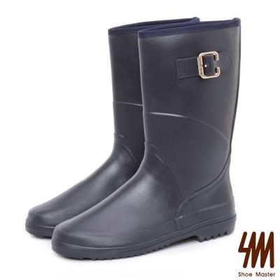 SM-防水輕系列-皮感中筒低跟平底雨鞋-藍色