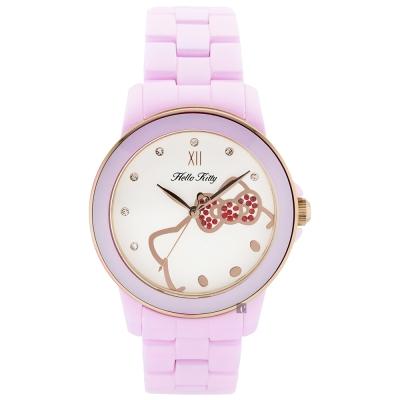 HELLO KITTY 凱蒂貓 粉紅甜心陶瓷手錶-白x粉/36mm