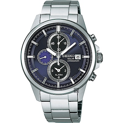 SEIKO SPIRIT 太陽能鬧鈴兩地時間腕錶(SBPY067G)-藍紫/40mm