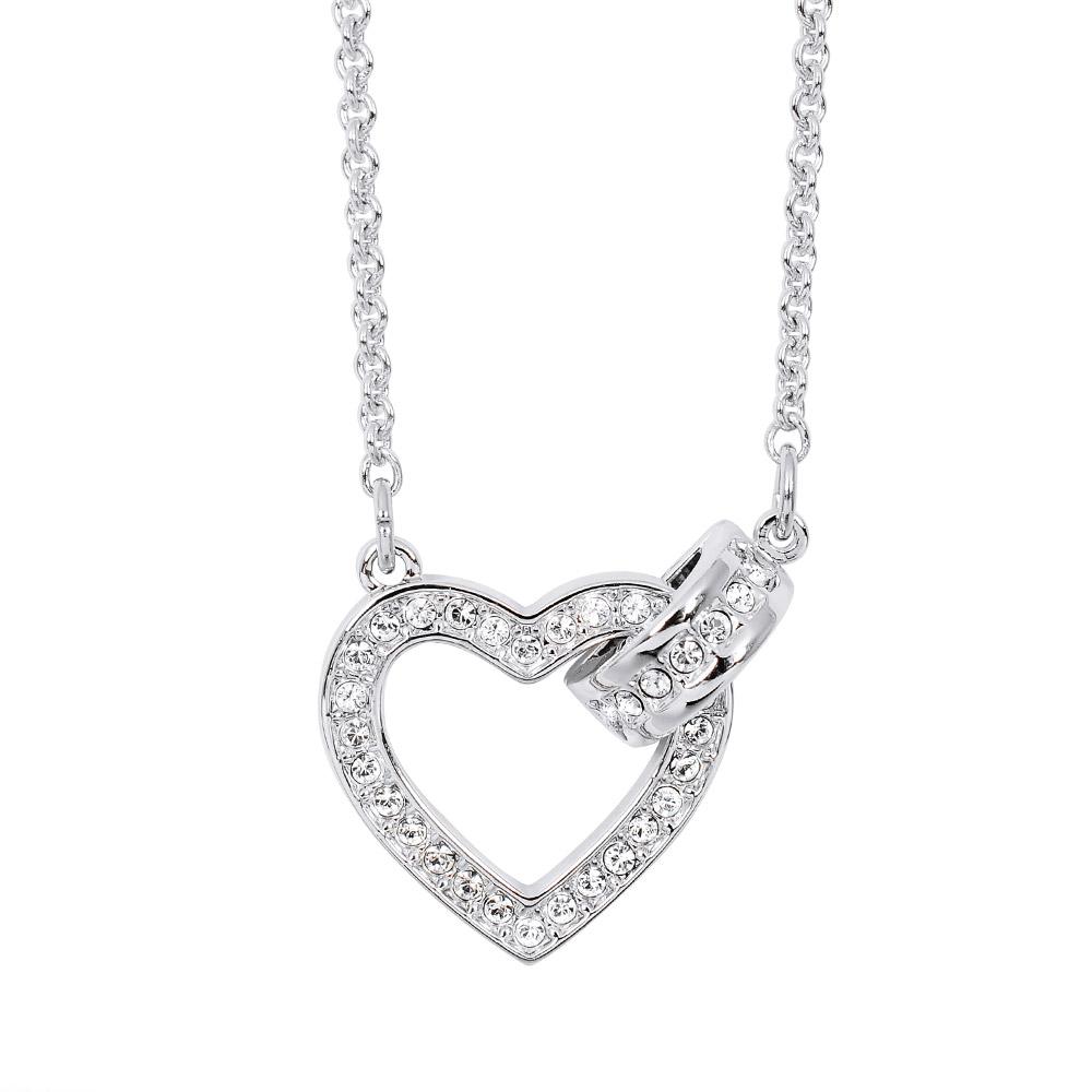 SWAROVSKI 施華洛世奇 鏤空愛心圓環造型水晶銀色項鍊