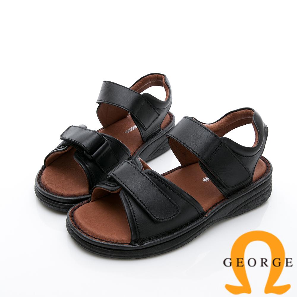 GEORGE 喬治-休憩系列 雙魔鬼氈休閒涼鞋-黑