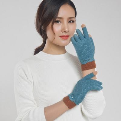 Seoul-Show-男女仿羊絨保暖針織觸控手套-女款湖藍