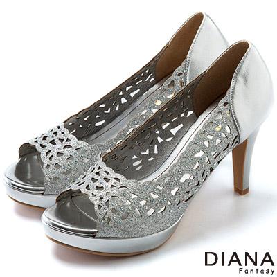 DIANA-上流風潮-雷射雕刻簍空水鑽魚口跟鞋-銀