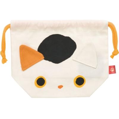 小襪貓招福貓系列棉布便當束口袋。小福貓