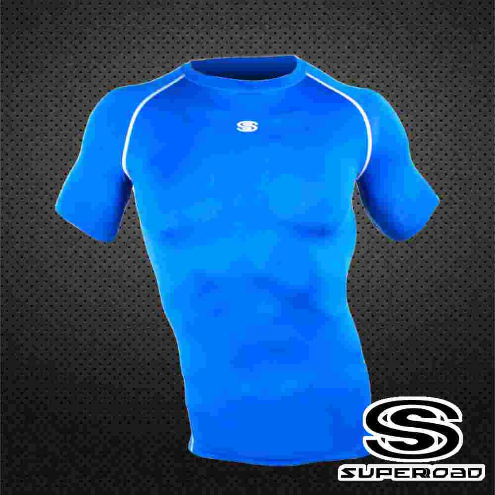 SUPEROAD SPORTS 涼感速乾 專業機能運動短袖緊身衣 寶藍色