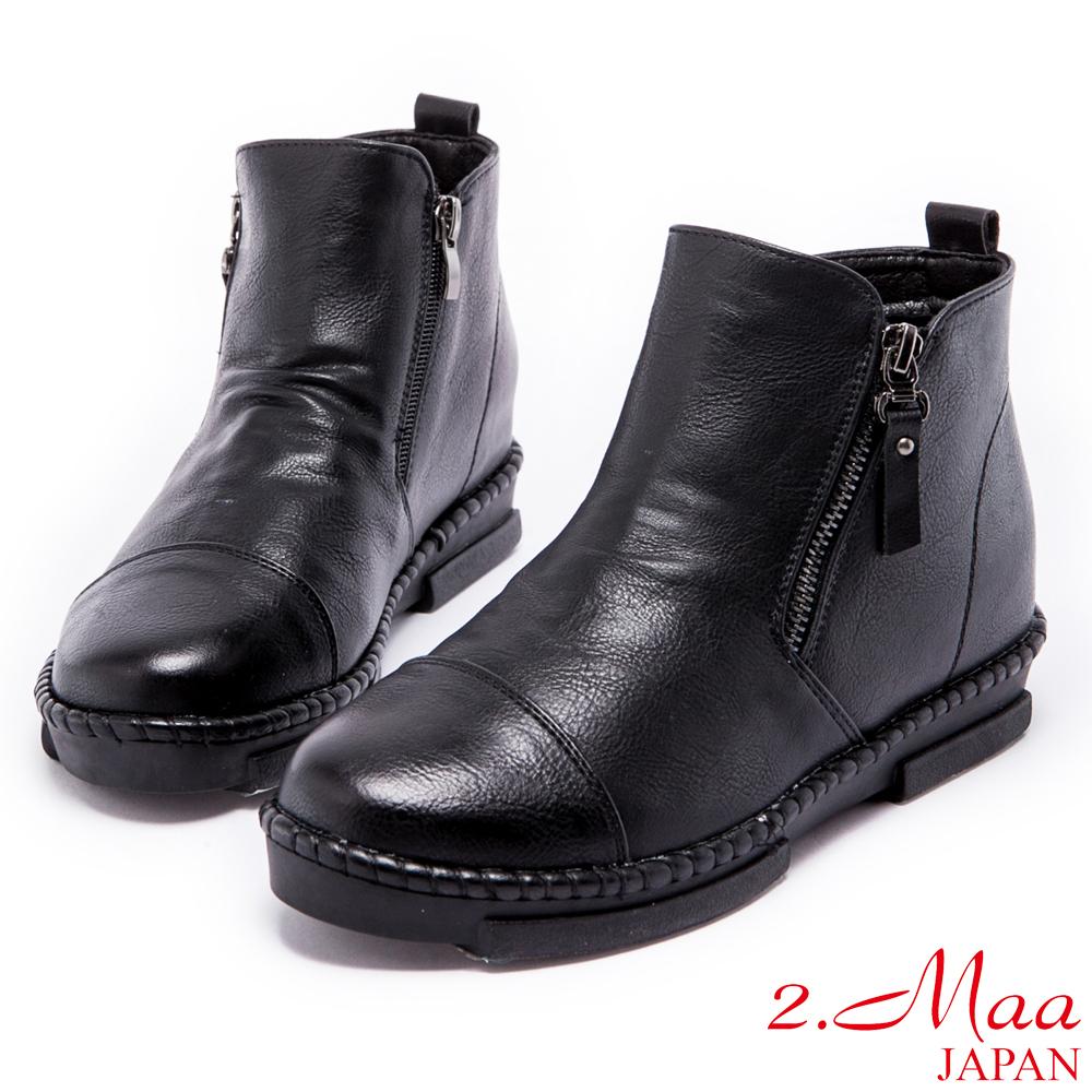 2.Ma-率性滿分個性雙拉鍊短靴-黑