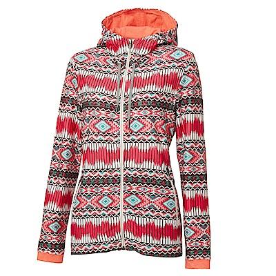【Wildland 荒野】女彈性針織功能印花外套紅