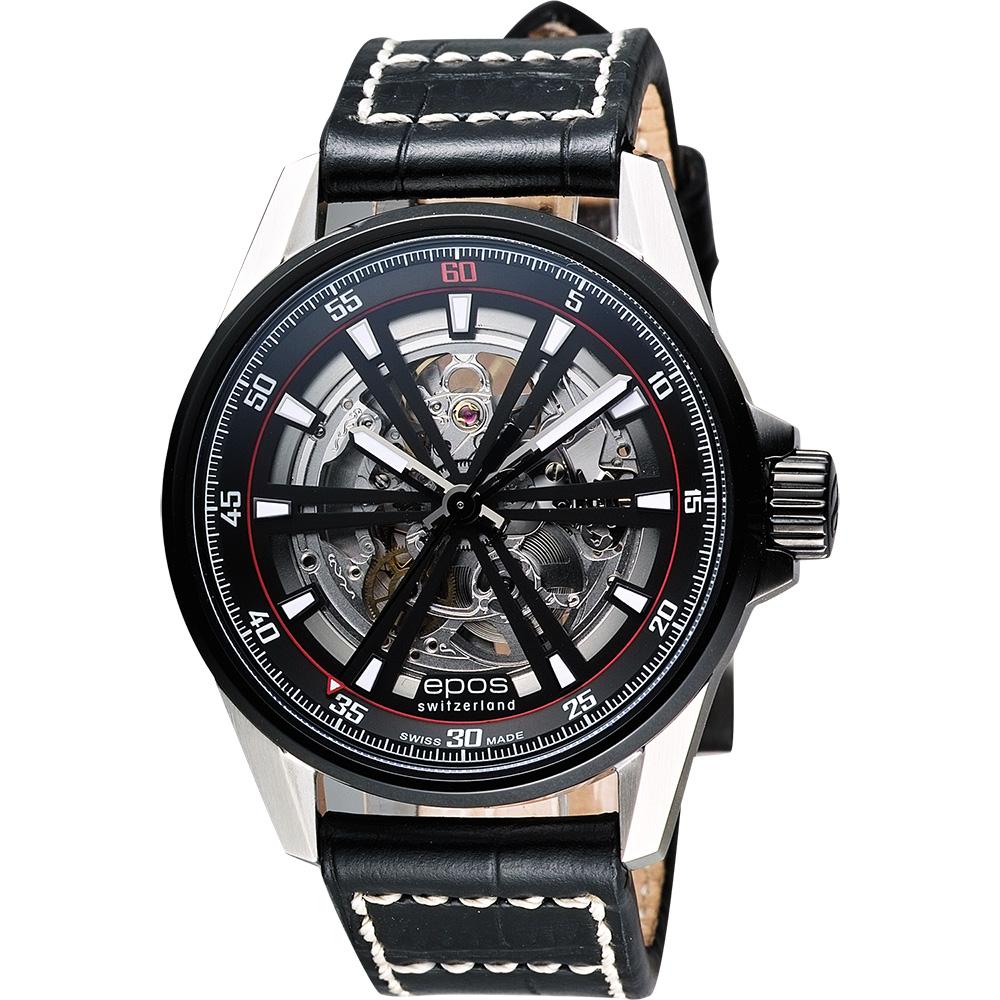 epos skeleton 經典鏤空機械腕錶-銀x黑/44mm