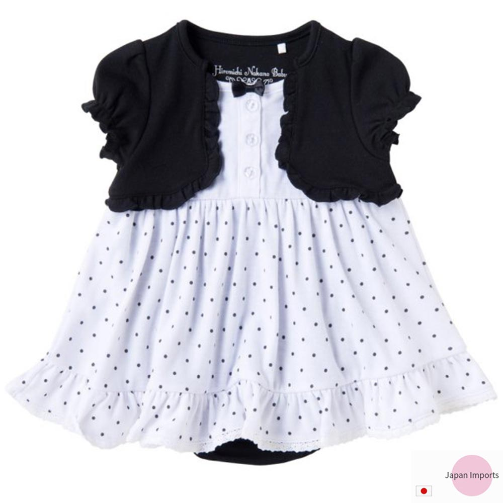Japan Imports 白底黑點假兩件式短袖包屁洋裝