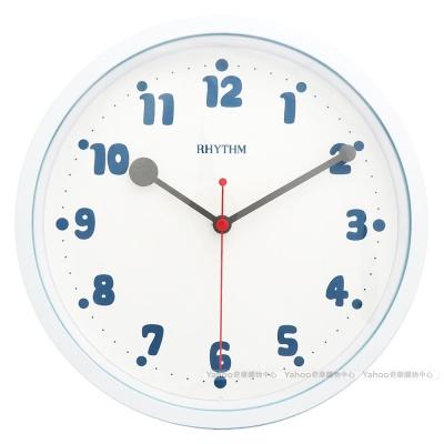 RHYTHM日本麗聲 簡約粉彩系設計掛鐘(天空藍)/23cm