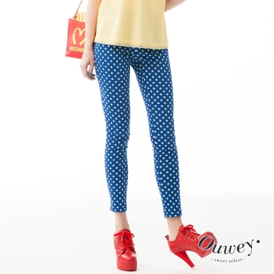 OUWEY歐薇-滿版星星超彈力顯瘦褲-藍-黃-紅