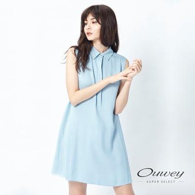 OUWEY歐薇 清新拼接收腰背心洋裝(藍)