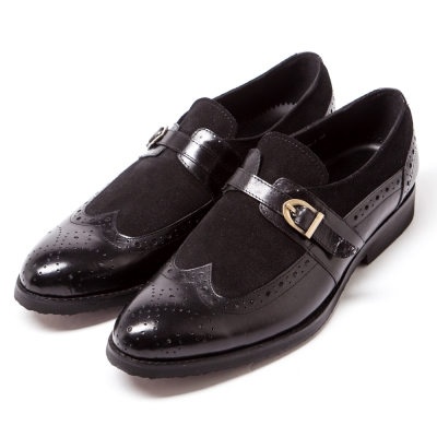 ALLEGREZZA.真皮雕花翼紋皮鞋-黑色