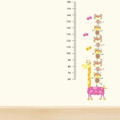 D-002童趣生活系列-動物疊疊樂身高尺 大尺寸高級創意壁貼 / 牆