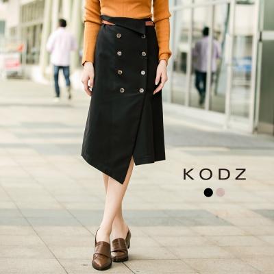 東京著衣-KODZ 歐美修身排釦設計中長裙(附腰帶)-S.M.L(共二色)