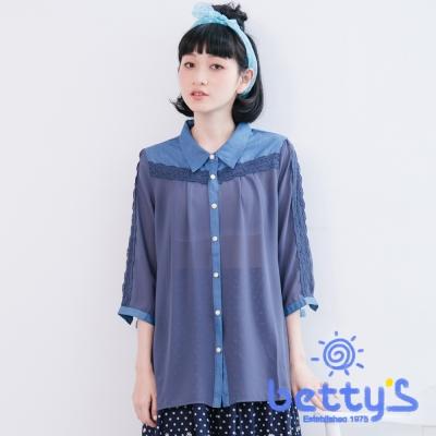 betty's貝蒂思 牛仔蕾絲拼接雪紡七分袖襯衫(藍色)
