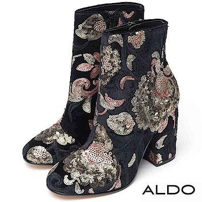 ALDO 原色蒔繪亮片刺繡拉鏈粗高跟短靴~尊爵黑色