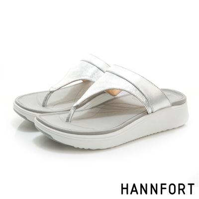 HANNFORT Ultra Comf 4D真皮T字拖鞋-女-前衛銀