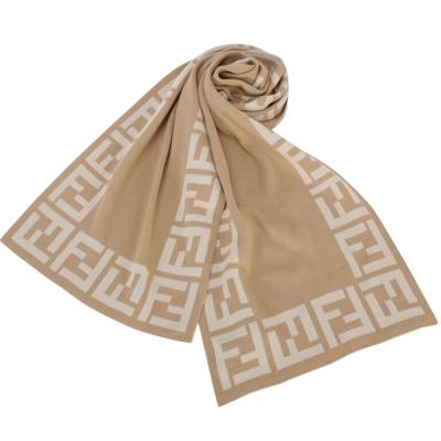 FENDI 經典雙F LOGO框邊羊毛圍巾(淺棕)