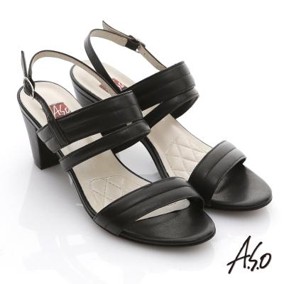 A.S.O 軟芯系列 蠟感真皮簡約低粗跟涼鞋 黑