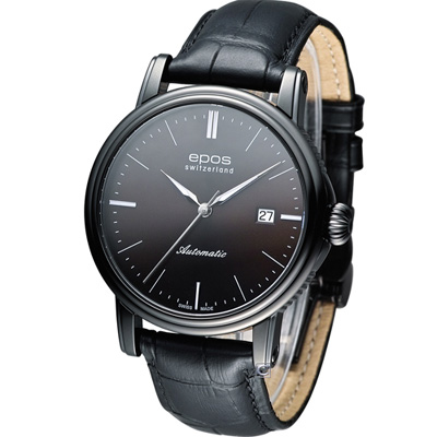 Epos Emotion 英倫都會紳士皮帶機械錶-咖啡xIP黑/42mm