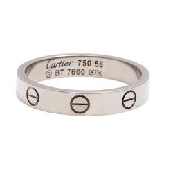 Cartier卡地亞 經典LOVE RING 18K白K金細板男婚戒 (#56)