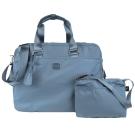 agnes b. 雙槓金屬LOGO尼龍旅行袋(大/霧藍)